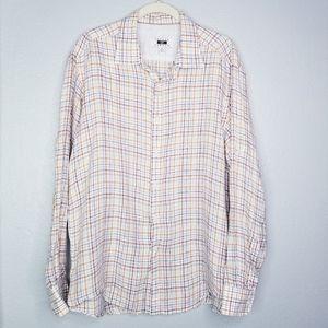 Joseph Abbound plaid linen roll tab shirt